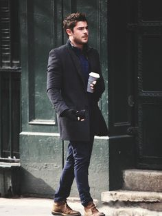 Long coat and tailored jeans.