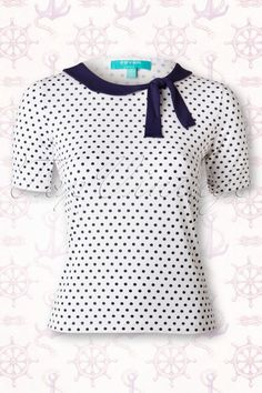 Fever 50s Newquay T shirt in White Navy Polkadot 111 59 15902 20150521 0002W