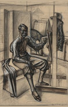 Alan Sorrell, Self portrait, November 1928 Romanticism Artists, White Gouache, Favorite Words, Weekend Is Over, Male Portraits, Portrait Ideas, British, Museum, Statue