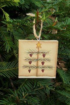 Primitive Christmas Tree Heart Canvas Ornament