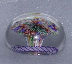 Antique Baccarat Millefiori Mushroom Paperweight - c 1850 from barkusfarm on Ruby Lane
