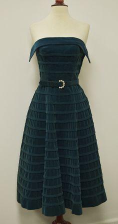 1950's Retro Teal Velvet Strapless Bombshell Full Skirt Vintage Party Prom Dress