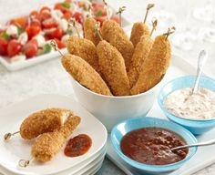 Big Flavor Chicken Dippers made with PERDUE® SIMPLY SMART® Breaded Chicken Breast Tenders, Gluten Free - A fun chicken appetizer that is gluten free, fun and delicious! Chicken Dippers, Chicken Tenders, Chicken Breasts, Summer Recipes, Great Recipes, Party Recipes, Cheese Fondue Dippers, Bbq Seasoning, Breaded Chicken