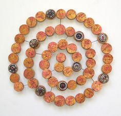 Lisa Kretchman's Art Blog: Recycled Art Show! (cork, pins, antique buttons)