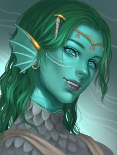 blue / turquoise skinned sea creature female character inspiration for DnD / Pathfinder unusual races Female Character Inspiration, Fantasy Inspiration, Fantasy Character Design, Character Art, Character Creation, Character Ideas, Dungeons And Dragons Characters, D D Characters, Fantasy Characters