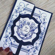 Royal wedding invitations. Navy handmade invitations.