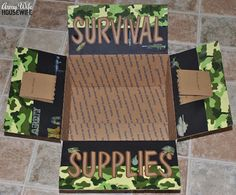 Survival Supplies; Tan shirts Socks - cold weather & warm weather Bath towels Allergy medicine Advil Chapstick Antacids Windex wipes Antibacterial wipes DVD Lotion Pens Magazines