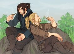 """hvit-ravn: """" """" shrapnel-chan asked: Hey! Just wanted to say that I was wondering if you could draw Kili and Fili with their hair up in ponytails? """" always (: """""""