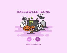 Halloween is just around the corner! Grab this great selection of spooky Halloween icons by AomAm.The icons are available in both AI and Sketch formats and come in 3 styles. Free for personal use! Halloween Icons, Halloween Vector, Halloween Fun, Halloween Design, Photoshop Design, Icon Pack, Icon Set, Vector Icons, Icon Design