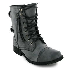 New Womens Black Military Combat Army Boots Sizes 3-8 £8