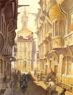 Schuiten: Les cités obscures, projet pour un film, qui ne verra jamais le jour, de Peter Jackson autour de l'univers de Jules Verne. Estimation: 20.000-25.000 euros.