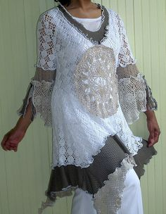 ao with <3 / White, Olive and Taupe Crochet dress