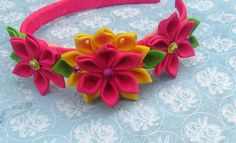 Pink and Yellow Kanzashi Flower Headband by AngelPetals on Etsy