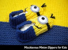 Mischievous Minion Slippers for Kids by Janet Jameson