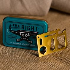 Gentlemen's Hardware Credit Card Tool design by Wild & Wolf  In a bit of a tight spot? This clever brass-style tool combines an array of handy tools in one credit-card-sized solution. From ruler to bottle opener you'll always have what you need for the job.  Comes in a neat little mini tin, ready to give as a gift.