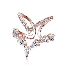 KAVANI Rose Gold Cubic Zirconia Ring CZ V Ring Open Adjustable Heart Princess Ring for Women -- Hope you actually like the image. (This is our affiliate link) Jewelry Gifts, Jewelery, Fine Jewelry, Women Jewelry, Tribal Bracelets, Bracelets For Men, Wrap Bracelets, Fashion Rings, Fashion Jewelry