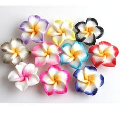 100x Lots Polymer Clay Fimo White Petals Plumeria Flower Loose Spacer Beads 20mm #DIYJewelry