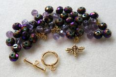 Glass Faceted Beads AB Purple Czech Glass by CatsBeadKitsandMore, $8.99