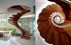 unique creative staircase design, spiral with no center pole