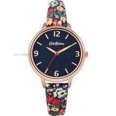 Ladies Cath Kidston Mews Ditsy Navy Fabric Strap Watch CKL002URG