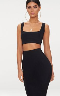a5633a71fc6 Black Slinky Square Neck Sleeveless Crop Top. Pretty Little Thing ...