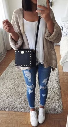 outfit of the day nude gardi top bag rips sneakers
