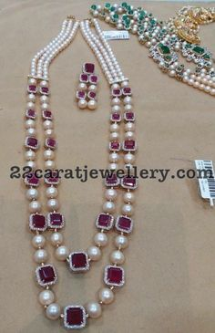 Ruby Pearls Two Layer Long Set - Jewellery Designs jewellerydesigns Indian Jewellery Design, Bead Jewellery, Dainty Jewelry, Bridal Jewelry, Jewelry Sets, Gold Jewelry, Beaded Jewelry, Vintage Jewelry, Fine Jewelry