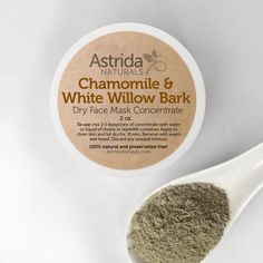 Chamomile and White Willow Bark Clarifying French Green Clay Face Mask, Natural Face Mask with Botanical Extracts by AstridaNaturals on Etsy https://www.etsy.com/listing/154964227/chamomile-and-white-willow-bark