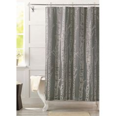 Better Homes and Gardens Birch Fabric Shower Curtain, Gray