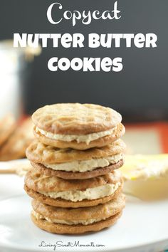 Copycat Nutter Butter Cookies - these homemade peanut butter cookies filled with delicious creamy peanut frosting are more delicious than the original kind.