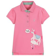 Girls pink polo shirt by Joules, made in comfortable cotton piqué. It has a cute horse design on the front, with a glittery silver underside on the collar and matching glittery button fastenings. There is a silver logo hare embroidered on the chest. Joules Girls, Cute Horses, Kids Online, Shirts For Girls, Pink Girl, Polo Shirt, Polo Ralph Lauren, Men Casual, Silver Logo