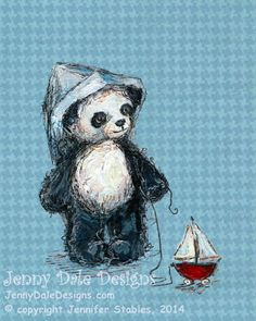 Panda and Sailboat Panda Nursery Art Art print by JennyDaleDesigns, $23.00