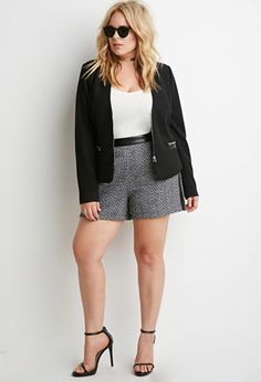 Faux Leather-Trimmed Tweed Shorts | Forever 21 PLUS | #forever21plus