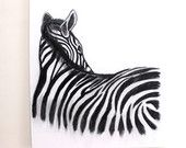 "Large Original Charcoal Zebra Drawing, Charcoal pencil on canvas, Office wall art, Black art, 23""x27"", Original Zebra Painting"