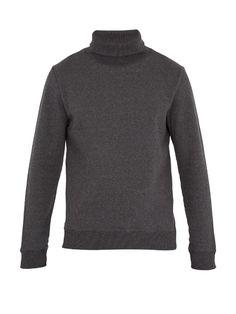 Octave Roll-neck Cotton Sweatshirt In Black Chandler Bing, Roll Neck, Apc, Men Sweater, Turtle Neck, Mens Fashion, Sweatshirts, Long Sleeve, Model