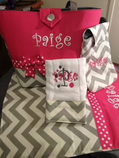 Monogrammed gray and white chevron and Pink  Diaper Bag set