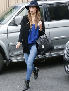 Jessica Alba. looking great with her #jeans tucked into her ankle boots and a great slouch hat! #www.nycfitnessfamilyfinds.net