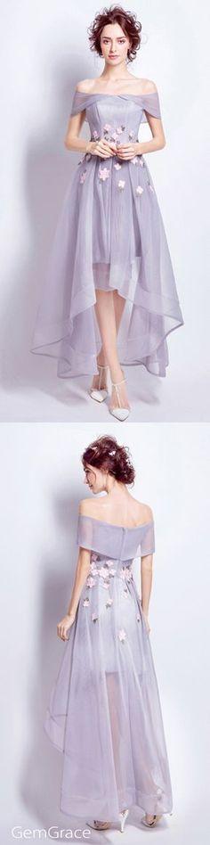 Off shoulder high low tulle dress