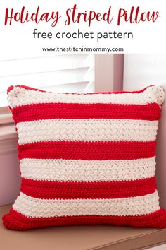 Holiday Striped Pillow - Free Crochet Pattern | www.thestitchinmommy.com #12WeeksChristmasCAL