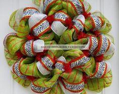 Lime Green & Red Metallic Striped Christmas Holiday  Zebra Mesh Wreath