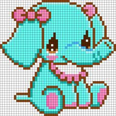 Sitting Elephant Perler Bead Pattern
