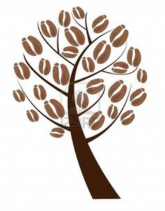 Illustration - coffee tree with coffee beans