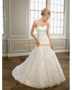 Herz-ausschnitt Bodenlang Elegant Brautkleid A-Linie 2013 aus Satin mit Spitze