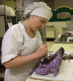 Artist & Chocolatier Jessica Lied hand crafting chocolate high heel shoes.