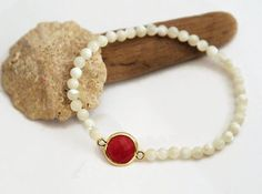 4 mm Shell Bracelet Natural Shell Bracelet Beaded Stetch