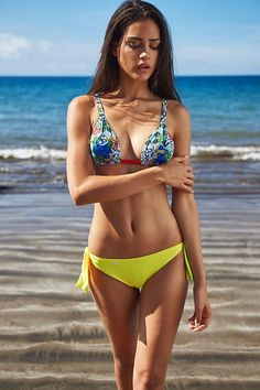 5a3c17bd188 Irgus Swimwear Blue Print Triangle Top & Lime Green Tie Side Cheeky Bottom  Bikini (Other colors available)