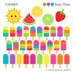 Summer Popsicles Clipart - Digital Clip Art - Popsicles - Personal and commercial use Project Yourself, Make It Yourself, Summer Bulletin Boards, Biscuit, Bottle Cap Images, Kawaii, Photoshop Elements, Digital Collage, Popsicles
