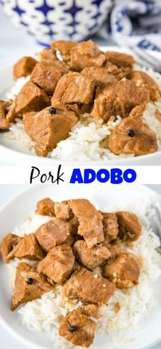 Pork Adobo Recipe - Dinners, Dishes, and Desserts - Pork Adobo Recipe Pork Adobo - This Filipino Pork Adobo is made with pieces of pork that are cooked in soy sauce, vinegar, and garlic. The sauce is rich and tasty and perfect served over rice! Pork Recipes For Dinner, Lunch Recipes, Soup Recipes, Vegetarian Recipes, Cooking Recipes, Healthy Recipes, Easy Recipes, Diced Pork Recipes, Seitan Recipes