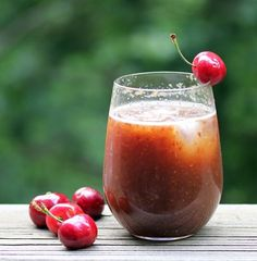 CHERRY RUM AND COKE (2 drinks).   6 oz. silver rum + 1.5 C cherries, pitted and halved - blend together. Top off with as much coke as needed.  Sounds delish