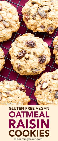 Easy Gluten Free Vegan Oatmeal Raisin Cookies (V, GF, Dairy-Free, Refined Sugar-Free) - Beaming Baker